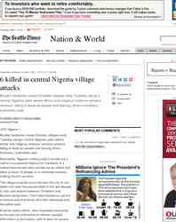 killed in central Nigeria village attacks: Seattle Times